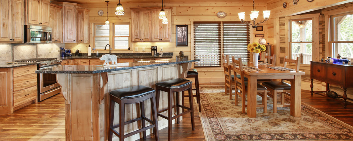 Misty Ridge log home cabin floor plan kitchen and dining